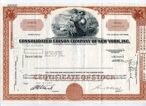 Akcja Consolidated Edison Company Of New York 1970 r.