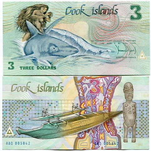 Cook Islands 3 Dollars 1987 UNC